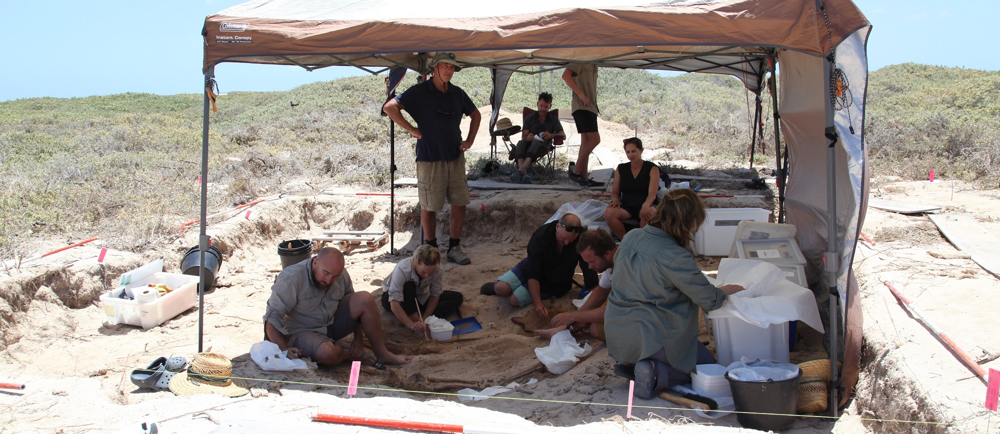 Dutch and Australian pathologists and archaeologists at work on Beacon island, aka Batavia's graveyard (photo Alistair Paterson)