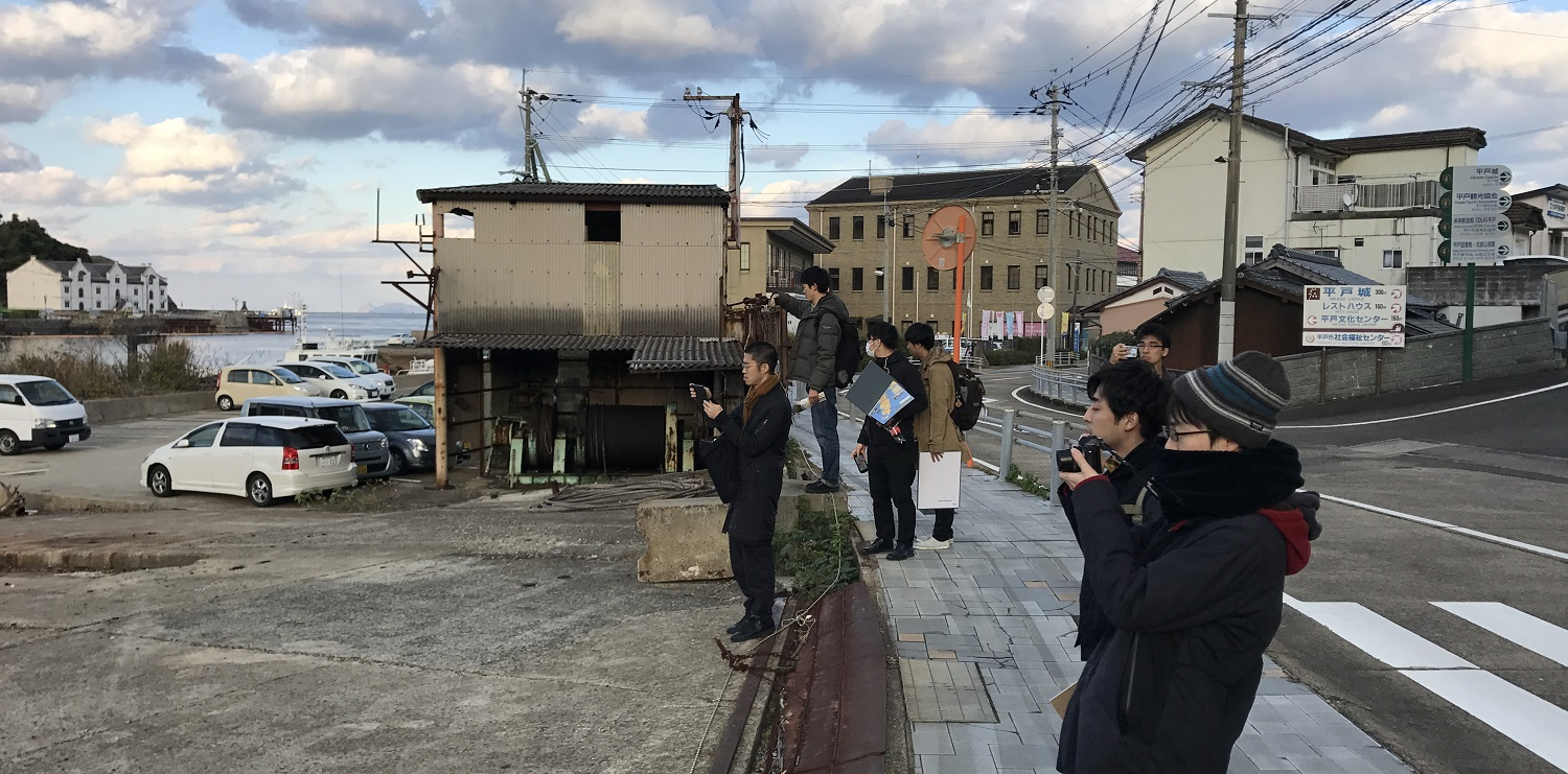 Hirado Workshop – fieldwork with students near waterfront (photo: Space&Matter)