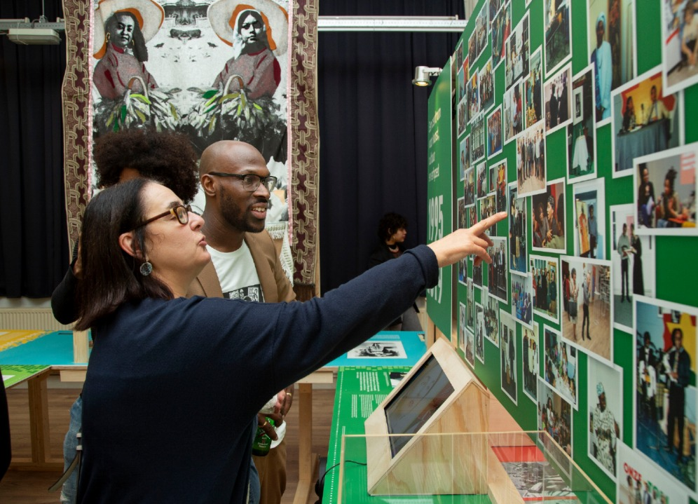 """Mitchell Esajas and Myra Winter during the opening of the exhibition """"Surinamers in the Netherlands: 100 years of emancipation and fight"""" on 13 December 2019 (photo: The Black Archives)."""