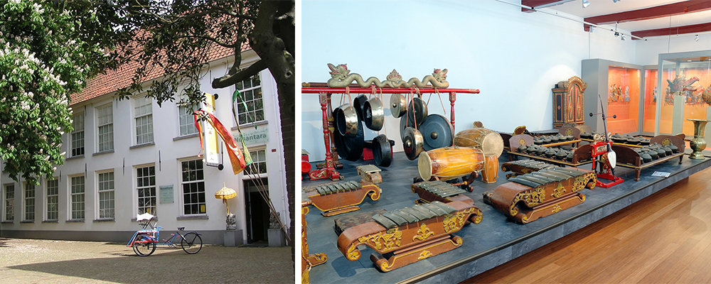 Former Museum Nusantara (left) and set of traditional musical instruments from the former Nusantara Collection (right) (photos: Museum Prinsenhof Delft)