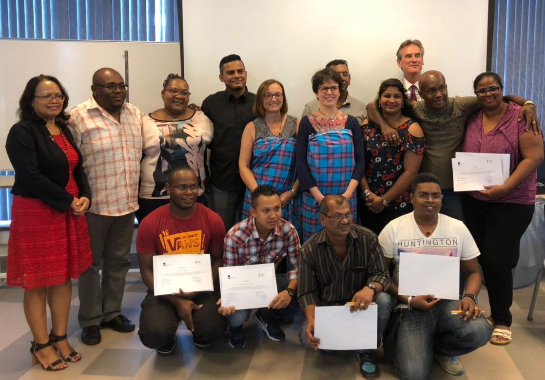 Participants of paper restoration course at the National Archives of Suriname (2018) receive their certificate (photo: Maurice Pourchez, Embassy of the Kingdom of the Netherlands in Paramaribo)